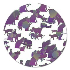 Many Cats Silhouettes Texture Magnet 5  (round)