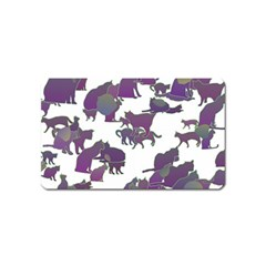 Many Cats Silhouettes Texture Magnet (Name Card)