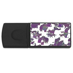 Many Cats Silhouettes Texture USB Flash Drive Rectangular (1 GB)