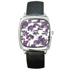 Many Cats Silhouettes Texture Square Metal Watch