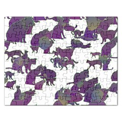 Many Cats Silhouettes Texture Rectangular Jigsaw Puzzl
