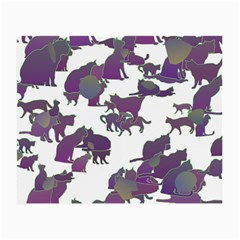 Many Cats Silhouettes Texture Small Glasses Cloth