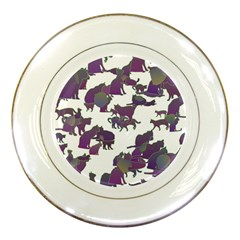 Many Cats Silhouettes Texture Porcelain Plates