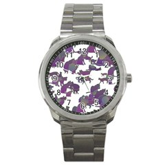 Many Cats Silhouettes Texture Sport Metal Watch