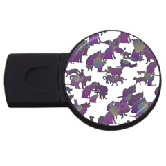 Many Cats Silhouettes Texture Usb Flash Drive Round (4 Gb)