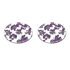 Many Cats Silhouettes Texture Cufflinks (oval)