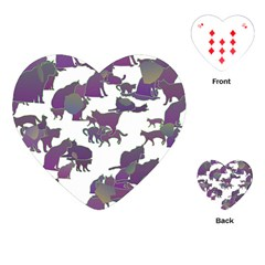 Many Cats Silhouettes Texture Playing Cards (heart)