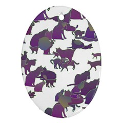 Many Cats Silhouettes Texture Oval Ornament (two Sides)