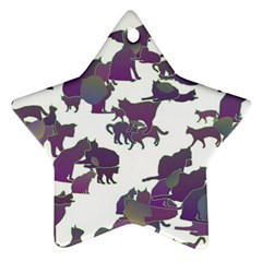Many Cats Silhouettes Texture Star Ornament (two Sides)