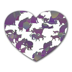 Many Cats Silhouettes Texture Heart Mousepads