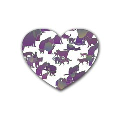 Many Cats Silhouettes Texture Heart Coaster (4 Pack)