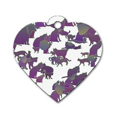 Many Cats Silhouettes Texture Dog Tag Heart (two Sides)