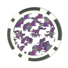 Many Cats Silhouettes Texture Poker Chip Card Guard