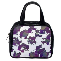 Many Cats Silhouettes Texture Classic Handbags (one Side)