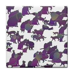Many Cats Silhouettes Texture Face Towel
