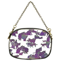 Many Cats Silhouettes Texture Chain Purses (one Side)