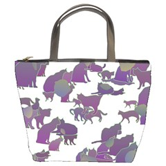 Many Cats Silhouettes Texture Bucket Bags