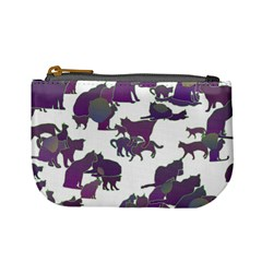 Many Cats Silhouettes Texture Mini Coin Purses