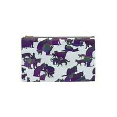 Many Cats Silhouettes Texture Cosmetic Bag (small)