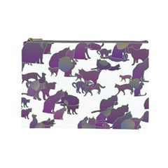 Many Cats Silhouettes Texture Cosmetic Bag (large)