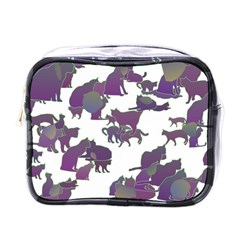 Many Cats Silhouettes Texture Mini Toiletries Bags