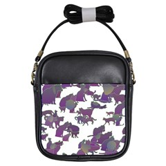 Many Cats Silhouettes Texture Girls Sling Bags