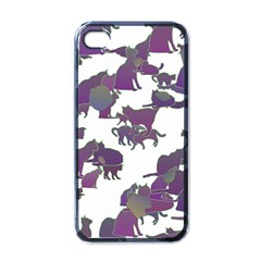 Many Cats Silhouettes Texture Apple Iphone 4 Case (black)