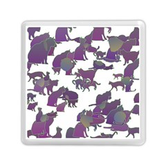 Many Cats Silhouettes Texture Memory Card Reader (square)