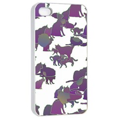 Many Cats Silhouettes Texture Apple Iphone 4/4s Seamless Case (white)