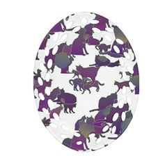 Many Cats Silhouettes Texture Oval Filigree Ornament (two Sides)