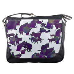 Many Cats Silhouettes Texture Messenger Bags