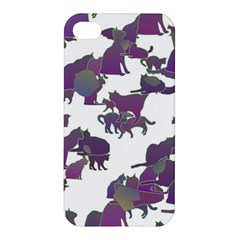 Many Cats Silhouettes Texture Apple Iphone 4/4s Premium Hardshell Case