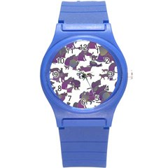 Many Cats Silhouettes Texture Round Plastic Sport Watch (s)
