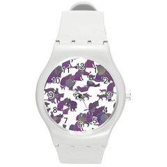 Many Cats Silhouettes Texture Round Plastic Sport Watch (m)