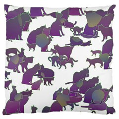 Many Cats Silhouettes Texture Large Cushion Case (one Side)