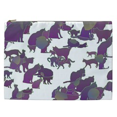 Many Cats Silhouettes Texture Cosmetic Bag (xxl)