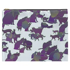 Many Cats Silhouettes Texture Cosmetic Bag (xxxl)