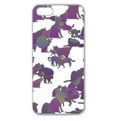 Many Cats Silhouettes Texture Apple Seamless Iphone 5 Case (clear)