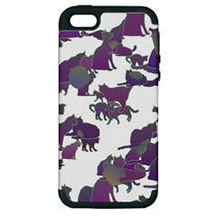 Many Cats Silhouettes Texture Apple Iphone 5 Hardshell Case (pc+silicone)