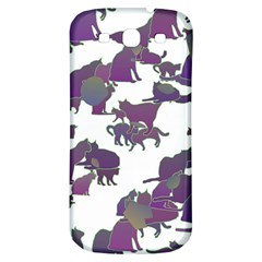 Many Cats Silhouettes Texture Samsung Galaxy S3 S Iii Classic Hardshell Back Case