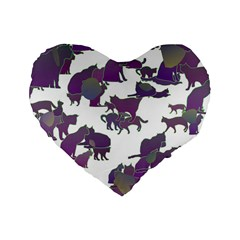 Many Cats Silhouettes Texture Standard 16  Premium Heart Shape Cushions