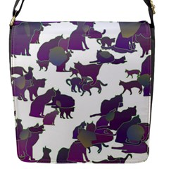 Many Cats Silhouettes Texture Flap Messenger Bag (s)