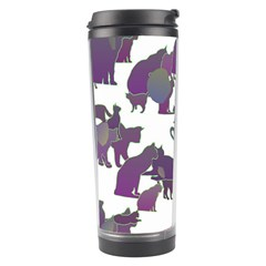 Many Cats Silhouettes Texture Travel Tumbler