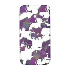 Many Cats Silhouettes Texture Samsung Galaxy S4 I9500/i9505  Hardshell Back Case