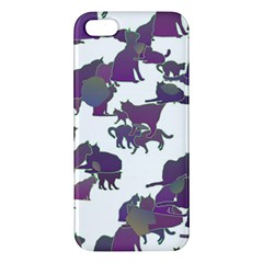 Many Cats Silhouettes Texture Iphone 5s/ Se Premium Hardshell Case