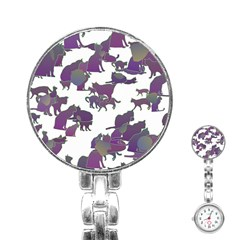 Many Cats Silhouettes Texture Stainless Steel Nurses Watch