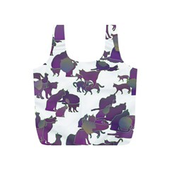 Many Cats Silhouettes Texture Full Print Recycle Bags (s)