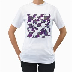Many Cats Silhouettes Texture Women s T Shirt (white)