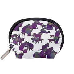 Many Cats Silhouettes Texture Accessory Pouches (small)