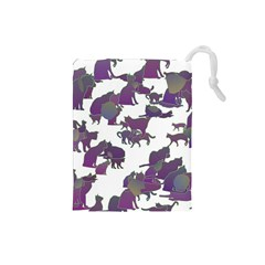 Many Cats Silhouettes Texture Drawstring Pouches (Small)